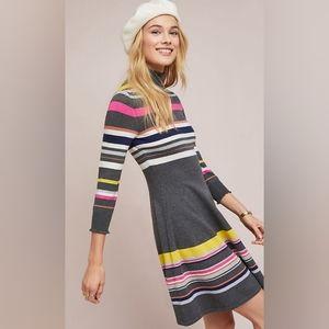 Anthro Maeve NIKKI Striped Turtleneck Dress XS NWT